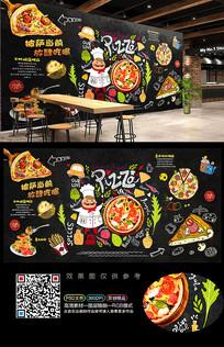 披萨店工装背景墙装饰画