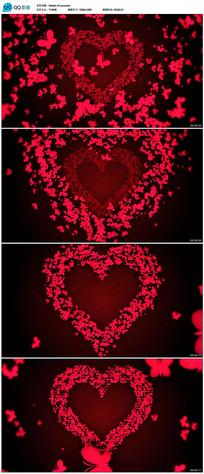 红色爱心蝴蝶飞舞视频