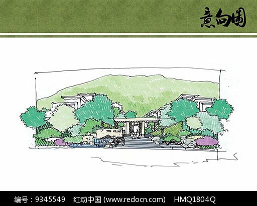 别墅区入口台阶手绘效果图图片