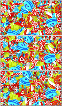 彩色卡通糖果零食背景视频素材