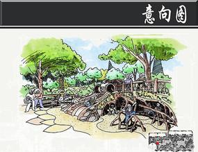 方形社区中心绿地手绘