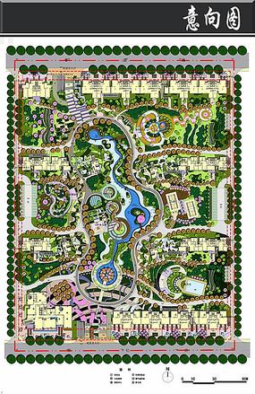 非常国际居住区景观彩平图