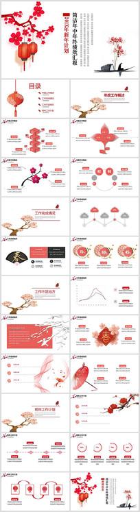 红色中国风新年计划PPT