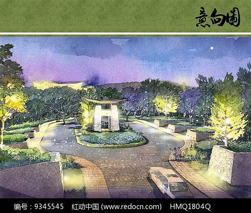 景观门户设计手绘效果图图片