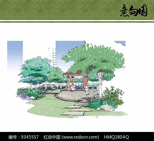 景观亭手绘效果图图片