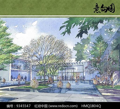 酒店水院景观手绘效果图图片