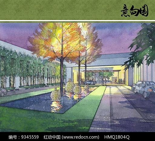 酒店中庭景观手绘效果图图片