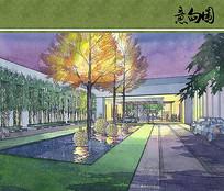 酒店中庭景观手绘效果图 JPG