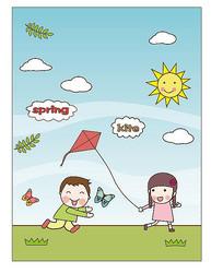可爱小孩放风筝矢量插画