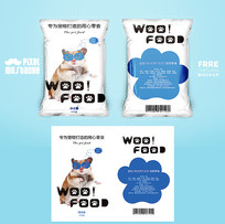 蓝色可爱宠物零食包装设计