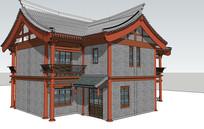 两层中式民居建筑