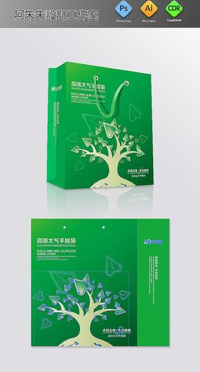 绿色心形树枝手提袋模板