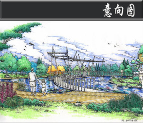 某高级别墅区景观桥手绘