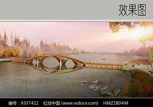 木质孔桥效果图图片
