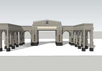 欧式拱形廊架SU