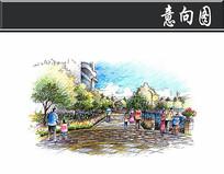 上海某方形住宅滨河手绘图