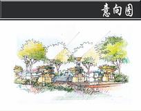 上海某方形住宅入口水景手绘