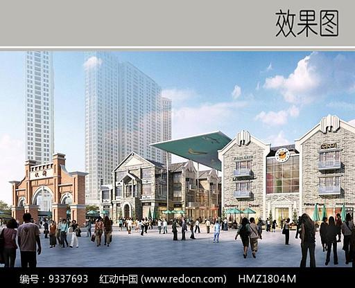 商业区入口广场效果图图片