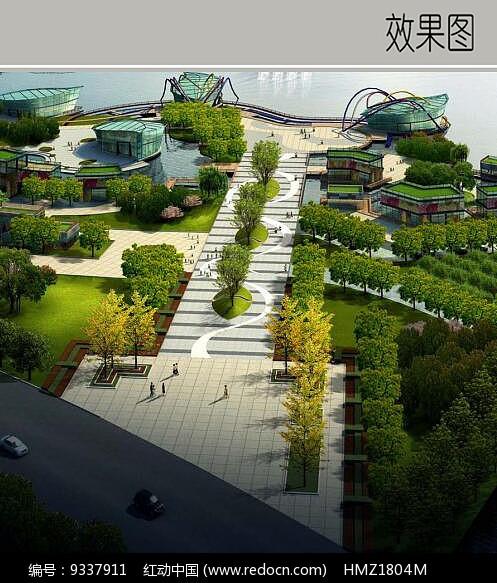 树阵广场效果图流程3dv广场的图片