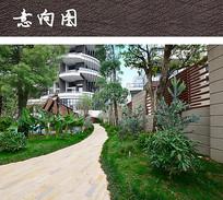 现代石木拼接围墙 JPG