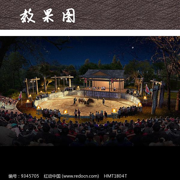 乡村表演戏台广场PSD图片