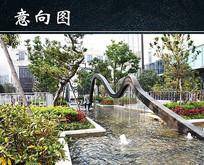 小区园林喷泉水帘景观意向图