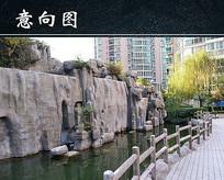 小区园林艺术人造水池景观 JPG