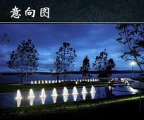 夜晚的喷泉池