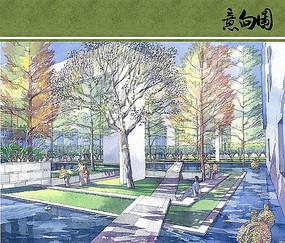 中庭景观手绘效果图