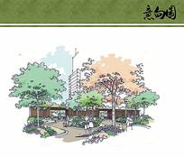 住宅区花园景观手绘效果图