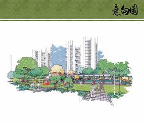 住宅区节点景观手绘效果图
