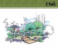 住宅区景观手绘效果图 JPG
