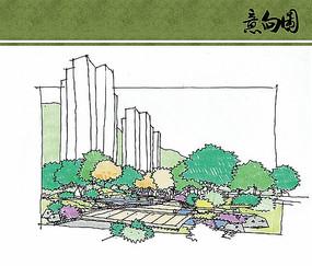 住宅区庭院景观手绘