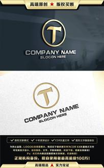 T字母金色LOGO设计