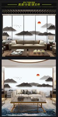 新中式意境抽象水墨山水背景墙