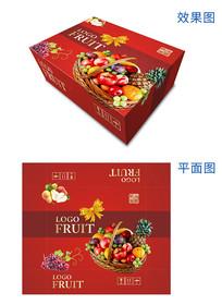 水果礼盒红色喜庆包装设计