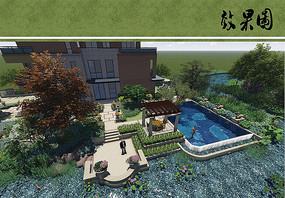别墅住宅庭院景观鸟瞰图
