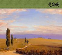 草原上的风景油画意向图
