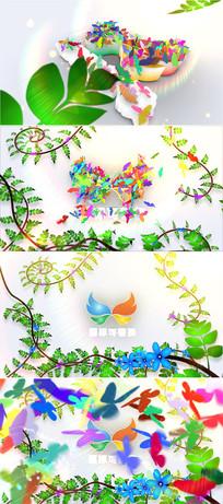 春天蝴蝶飞舞标志片头ae模板