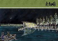 峨眉河水体公园夜景湖面手绘