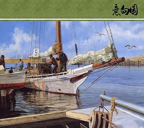 帆船上忙碌的人油画意向图