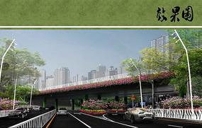 高架桥路段景观效果图