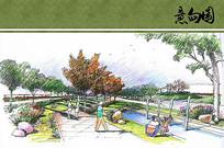 灞河公园景观园路手绘图