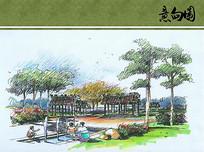 灞河公园灞桥文化园手绘图