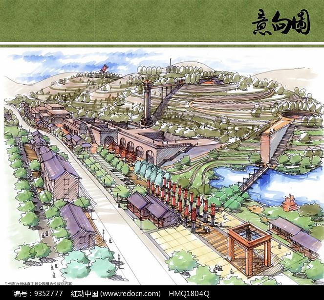 原创设计稿 方案意向 手绘素材 九州体育公园节点透视图  请您分享