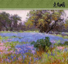 蓝色的花海油画