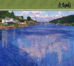 蓝色的湖水油画