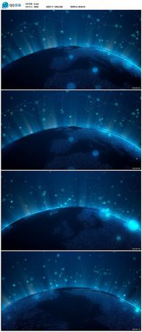 蓝色科技地球背景视频 mp4