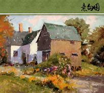 绿色屋檐的小木屋油画