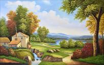欧式山水别墅风景油画背景墙